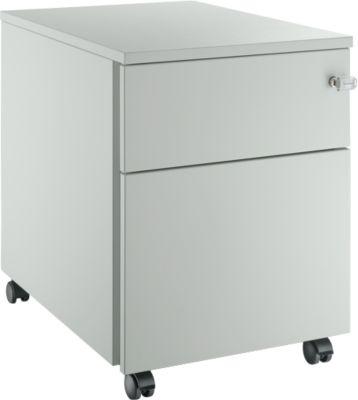 Rollcontainer 36, mit Stahlblenden, 1 Schublade + HR, lichtgrau/lichtgrau/lichtgrau