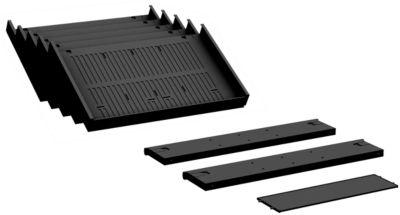 Rollcontainer-Einrichtungsset ALICANTE, 2 Quer- und 1 Längsausfachung und 5 Schrägablagen