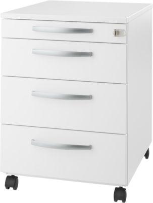 Rollcontainer LOGIN, 3 Schubladen, 1 Utensilienauszug, Zentralverriegelung, B 432 x T 580 x H 595 mm, weiß