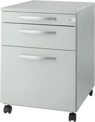 Rollcontainer Login, HR-Auszug+Utensilienauszug+Schublade, abschließbar, Holz, B 431 x T 580 x H 595 mm, lichtgrau/lichtgrau