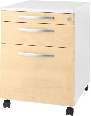 Rollcontainer Login, HR-Auszug+Utensilienauszug+Schublade, abschließbar, Holz, B 431 x T 580 x H 595 mm, weiß/Ahorn