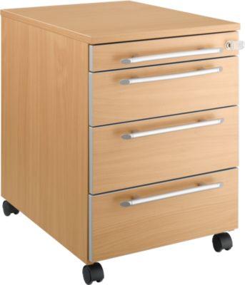 Rollcontainer Moxxo IQ 1233, runder Griff, 1 Utensilienfach, 3 Schübe, B 432 x T 580 x H 595 mm, abschließbar, Buche-Dekor
