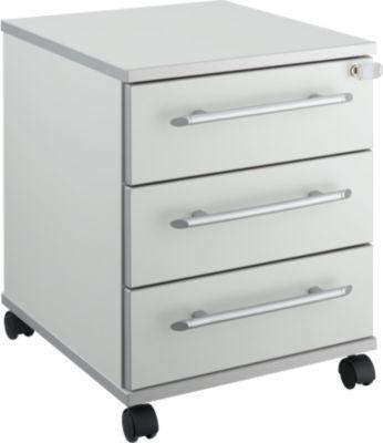 Rollcontainer Moxxo IQ 333, runder Griff, 3 Schübe, B 409 x T 459 x H 507 mm, abschließbar, lichtgrau