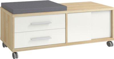 Rollcontainer Player, mit Sitzkissen, 2 Schubladen, 1 Schiebetür, Eiche/weißglas