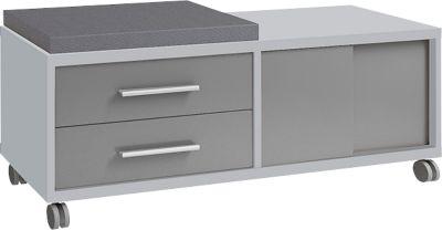 Rollcontainer Player, mit Sitzkissen, 2 Schubladen, 1 Schiebetür, platingrau/grauglas