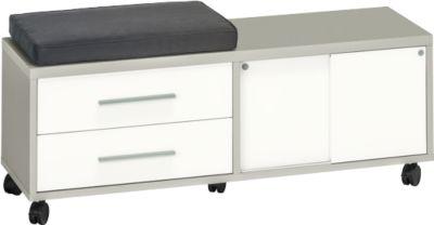 Rollcontainer Player, mit Sitzkissen, 2 Schubladen, 1 Schiebetür, platingrau/weißglas