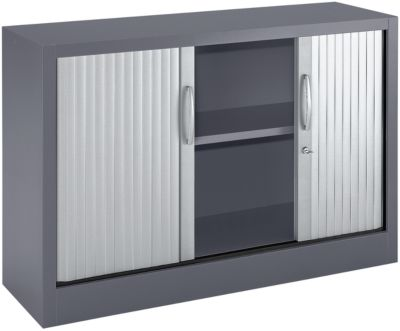 Rollladenschränke MS iCOLOUR, 2 Ordnerhöhen, B 1200 mm, graphit/alusilber