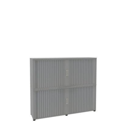 Rollladenschrank, 4 OH, 2teilig, mit Mitteltrennwand, B 1800 mm, silber