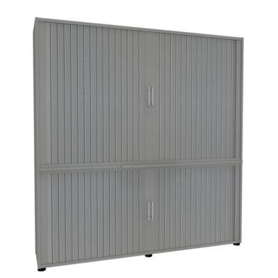 Rollladenschrank, 5 OH, 2teilig, mit Mitteltrennwand, B 1800 mm, silber