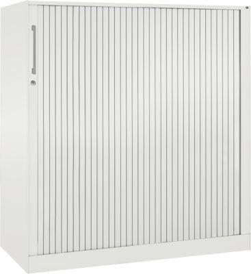 Rollladenschrank ASISTO C 3000, 3 Ordnerhöhen, mit Akustik-Rollladen, Breite 1200 mm, weiß/weiß