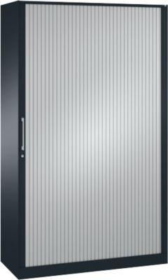 Rollladenschrank ASISTO C 3000, 5 Ordnerhöhen, mit Akustik-Rollladen, 1200 mm Breite, anthrazit/alusilber
