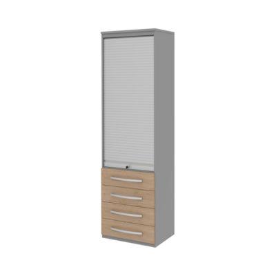 Rollladenschrank BARI, 6 Ordnerhöhen, 4 Schübe, 3 Böden, abschließbar, B 600 x T 430 x H 2174 mm, Eiche-Dekor/mittelgrau