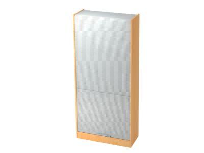 Rollladenschrank TARVIS, abschließbar, 5 Ordnerhöhen, B 900 x T 400 x H 2004 mm, Buche-Dekor/alusilber