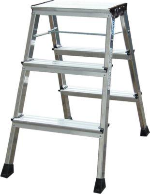 Rolly Doppel-Klapptritt, 2 x 3 Stufen, alufarben