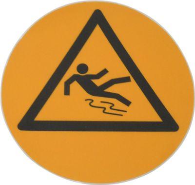 Rond waarschuwingsbord voor op de grond: Pas op slipgevaar