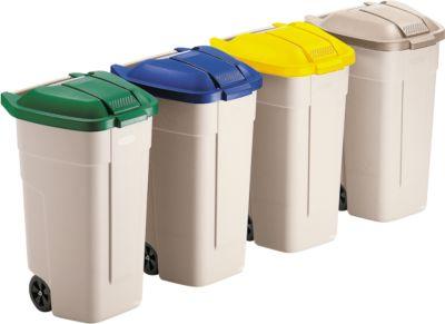 Afvalverzamelaar, met wielen, beige, deksel blauw