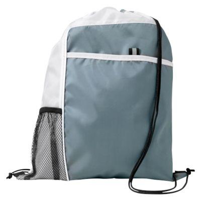 Rucksack-Beutel Mondo, 210D-Polyester, mit Kordelzug, mit Vordertasche und Netzfach, weiss