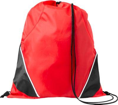 Rucksack-Beutel Westford, 210D-Polyester, mit Zugkordel, farblich abgesetzte Ecken, rot