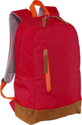 Rucksack FUN, mit Reißverschluss-Hauptfach, Boden und RV-Anhänger in Wildlederoptik, rot