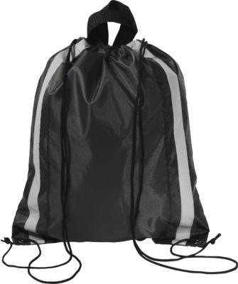 Rucksack Glitterbag, aus 190T Polyester, mit Kordelzug und reflektierenden Streifen, schwarz