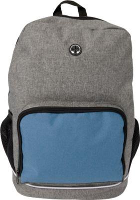 Rucksack MALMÖ, 300D Polycanvas, mit Kopfhöreröffnung f. Smartphone o. MP3-Player, Werbedruck 120 x 100 mm, kobaltblau
