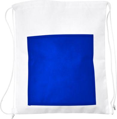 Rucksack SIMPLY, Non-Woven Vliesgewebe, farbige Fronttasche, Werbedruck 180 x 180 mm, kobaltblau