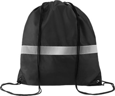 Rucksack Stripe, Polyester, mit Kordelzug, schwarz