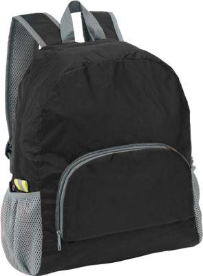 Rucksack Volunteer, faltbar, aus Kunststoff, geräumiges Reißverschluss-Hauptfach, schwarz