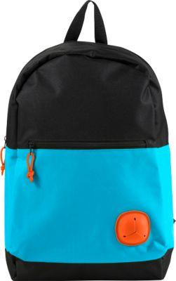 Rucksack YOUNG, 600D Kunststoff, Reißverschlussfach, Kopfhöreröffnung, gepolstert, hellblau