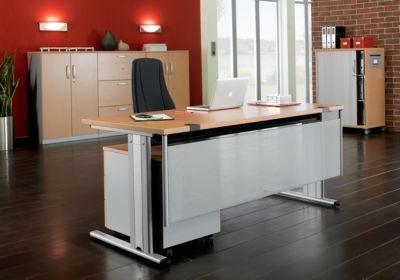 Rückseitenblende für Schreibtisch, weißaluminium