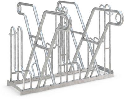 Rugleuningparker WSM, 2-zijdig, voor banden tot B 55 mm, B 1080 x D 390 x H 800 mm, B 1080 x D 390 x H 800 mm, gegalvaniseerd staal, 4 parkeerplaatsen