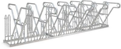 Rugleuningparker WSM, 2-zijdig, voor banden tot B 55 mm, B 3240 x D 390 x H 800 mm, gegalvaniseerd staal, 12 parkeerplaatsen