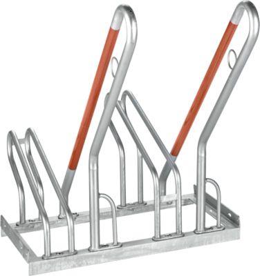Rugleuningparker WSM, enkelzijdig, voor banden tot B 55 mm, B 700 x D 385 x H 815 mm, gegalvaniseerd staal, 2 parkeerplaatsen