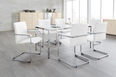 RUMBA komplete aanbieding : 1 vergadertafel 1600 x 800 x 720 mm, 6 bezoekersstoelen met armleuningen, wit