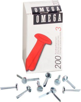 Rundkopfklammern Omega, vernickelt, Gr. 3, 200St.