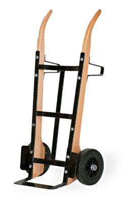 Sackkarre aus Holz mit Flachstahlschaufel, Tragkraft 250 kg, Luft-Bereifung