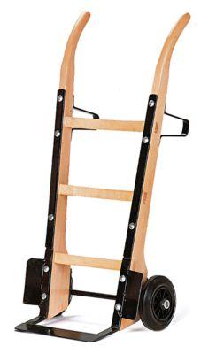 Sackkarre aus Holz mit Flachstahlschaufel, Tragkraft 250 kg, Vollgummi-Bereifung