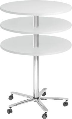 Säulentisch JENA, Ø 800 mm, H 720-1100 mm, lichtgrau