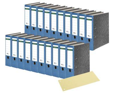 SCHÄFER SHOP 20 standaard ordners, A4, 80 mm, wolkenmarmer, blauw, + 1 pak scheidingsstroken geel, gratis
