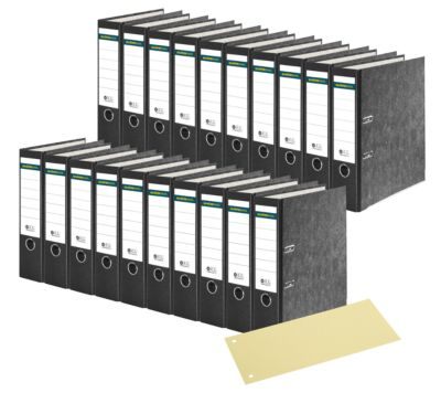 SCHÄFER SHOP 20 standaard ordners, A4, 80 mm, wolkenmarmer, zwart, + 1 pak scheidingsstroken geel, gratis
