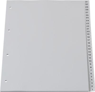 SCHÄFER SHOP Aflopend gesorteerde tabbladen PP, A4, grijs, 31-1