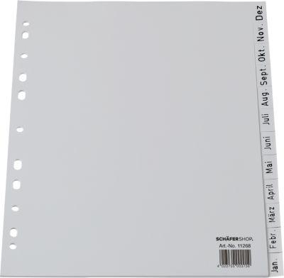 SCHÄFER SHOP Aflopend gesorteerde tabbladen PP, A4, grijs, Dez.-Jan.