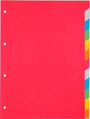 SCHÄFER SHOP Gekleurde kartonnen tabbladen, 12-delig, 6 kleuren, sparpaket van 5 sets