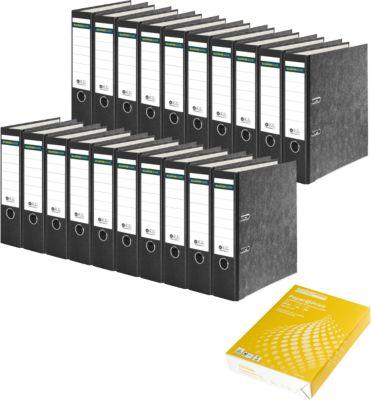 SCHÄFER SHOP Ordner, DIN A4, 80 mm, 20 Stück + GRATIS CLIP Kopierpapier
