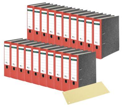 SCHÄFER SHOP Ordner, DIN A4, 80 mm, 20 Stück, rot + GRATIS Trennstreifen, gelb, 100 Stück