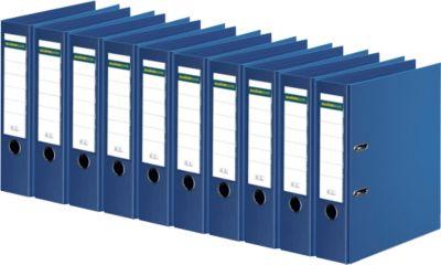 SCHÄFER SHOP Ordner, DIN A4, Rückenbreite 80 mm, 10 Stück, blau