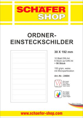 SCHÄFER SHOP Ordner-Einsteckschilder, bedruckbar, Rückenbreite 30 mm, 90 Stück