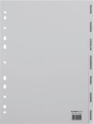 SCHÄFER SHOP PP Ordner-Register, DIN A4-Vollformat, Tage  Mon-Son(7 Fächer), grau