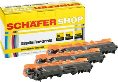 Schäfer Shop Sparpaket 3 Tonerkassetten TN-246, cyan, magenta, gelb