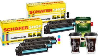 Schäfer Shop Sparset, 5 Toner HP 125er (2 x schwarz, je 1 x CMY)